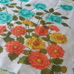 1970s Japan Scalloped Edge Kerchief Blue Rose